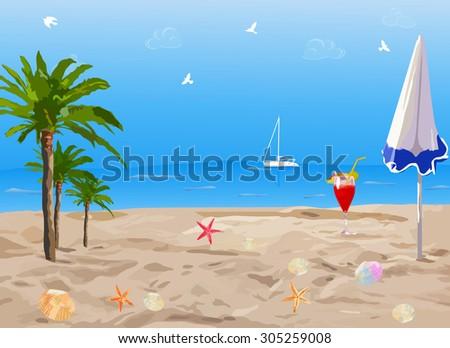 Tropical sunny beach with palms. - stock vector