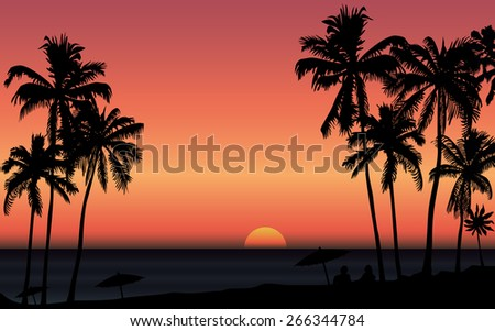 Tropical sunrise at seashore with palms and silhouette of couple. Vector illustration - stock vector
