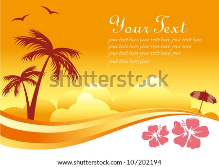 Tropical Sunset Background - stock vector