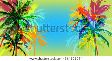 Tropical sunset on palm beach horizontal orientation, can be used for a poster, or printing on fabric - stock vector