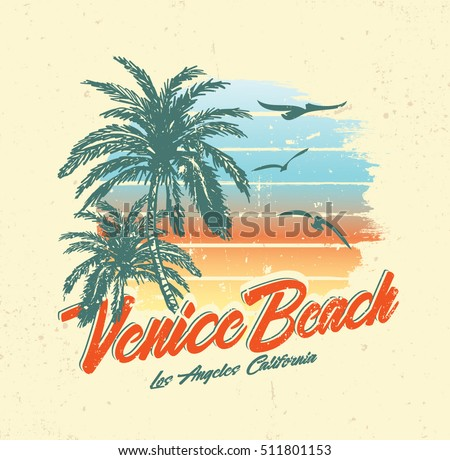 Tropical Sunset Surf Beach Vintage Beach Stock Vector ...