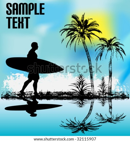 Tropical Surfer - stock vector