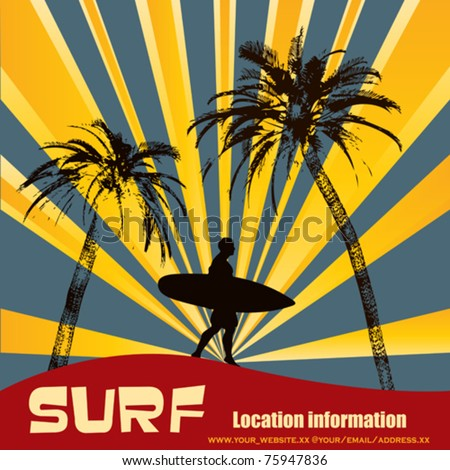 Tropical Surfer, Vector Background Illustration with Palm Trees - stock vector