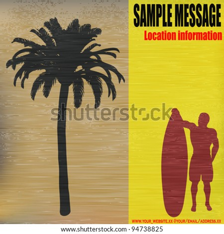Tropical Surfer, Vector retro background - stock vector
