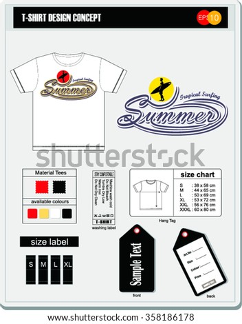 Tropical surfing ,  t-shirt design concept.