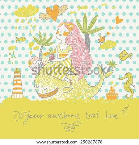 Tropical travel concept card in summer colors. Summer cartoon background with girl with cocktail under palm on the whale in the sea with lighthouse, sea horse and fish in vector - stock vector