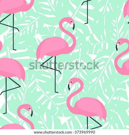 Tropical trendy seamless pattern with pink flamingos and mint green palm leaves. Exotic Hawaii art background. Design for fabric and decor.  - stock vector