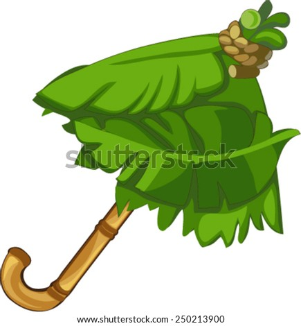 tropical umbrella of leaves - stock vector