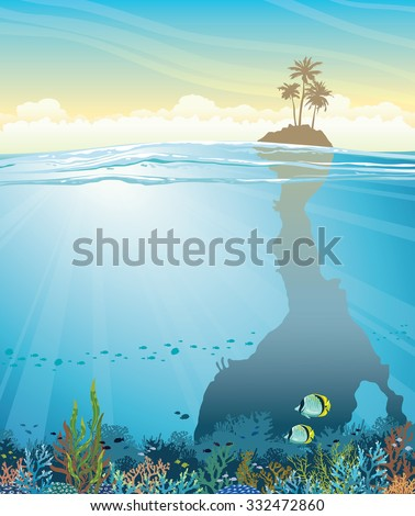 Tropical vector illustration - underwater cave with coral reef and school of fish under island with palms on a blue sky. - stock vector