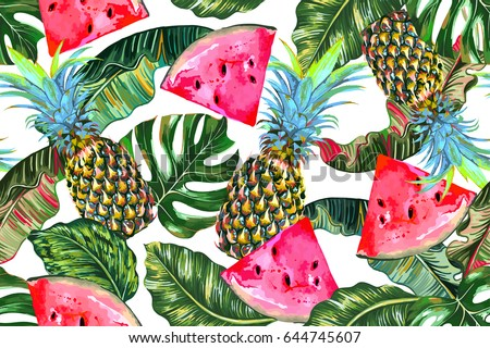 Tropical vector illustration with pineapples, watermelons, exotic jungle leaves, monstera leaf seamless floral pattern. Summer natural background