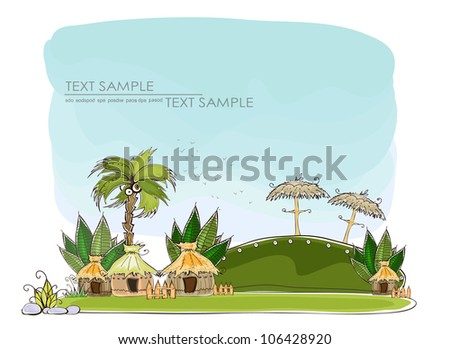 """tropical village """"Happy world"""" collection - stock vector"""