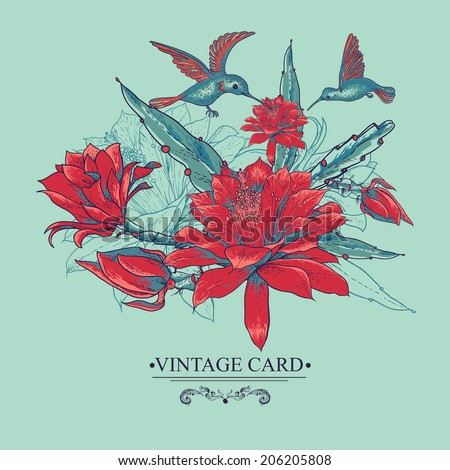 Tropical Vintage Card with Red Flowers and Hummingbirds. Vector Design Element.  - stock vector