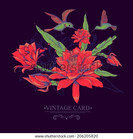 Tropical Vintage Card with Red Flowers and Hummingbirds. Vector Design Element.