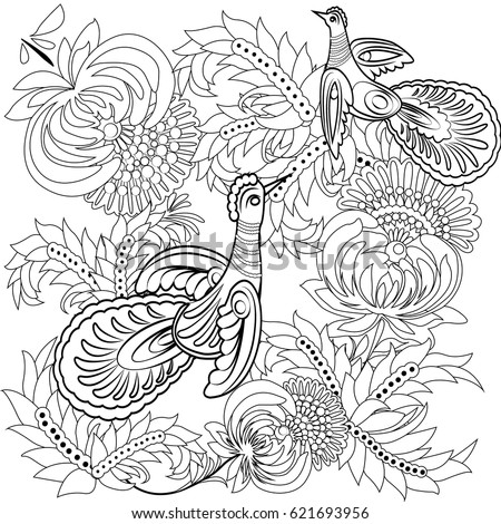 Tropical Wild Birds And Flowers Coloring Book For Adult Older Children Page