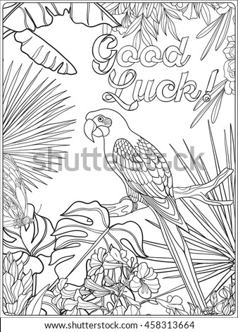 Tropical Wild Birds And Plants Garden Collection Coloring Page With Message
