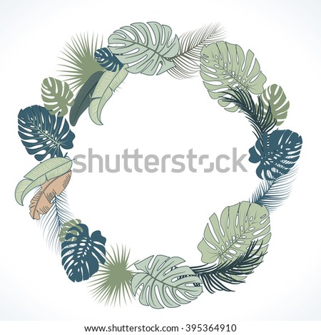 Tropical Wreath - stock vector