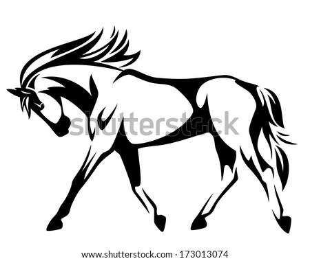 Trotting horse black and white vector outline - side view - stock vector