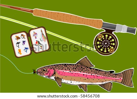 Trout Fly Rod Fly Box Display Trophy - stock vector