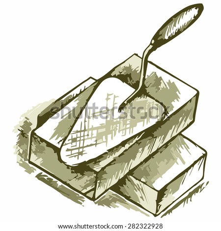 Trowel and bricks. Shades of green and yellow. Doodle style - stock vector