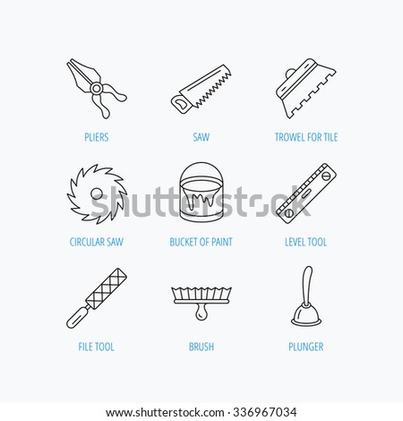 Trowel for tile, saw and brush tool icons. Level and file tool, bucket of paint linear signs. Plunger, pliers icons. Linear set icons on white background. - stock vector