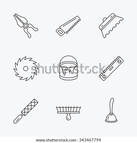 Trowel for tile, saw and brush tool icons. Level and file tool, bucket of paint linear signs. Plunger, pliers icons. Linear black icons on white background. - stock vector