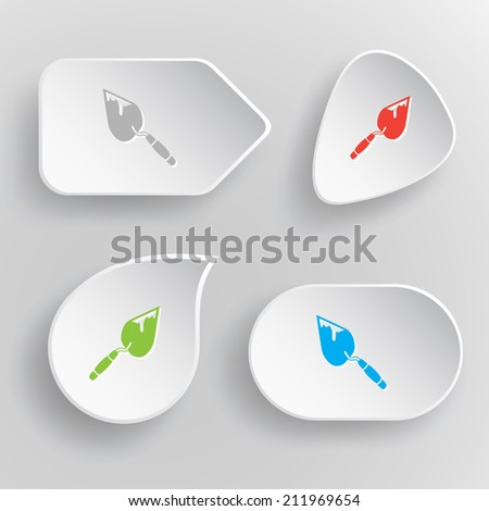 Trowel. White flat vector buttons on gray background. - stock vector