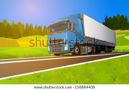 Truck cargo transportation. EPS 10 format. - stock vector