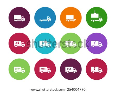 Truck circle icons on white background. Vector illustration. - stock vector