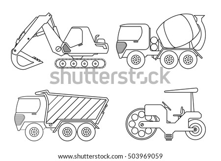 Truck Coloring Book For Kids Vector Illustration Of Crane Car Cement Rollor