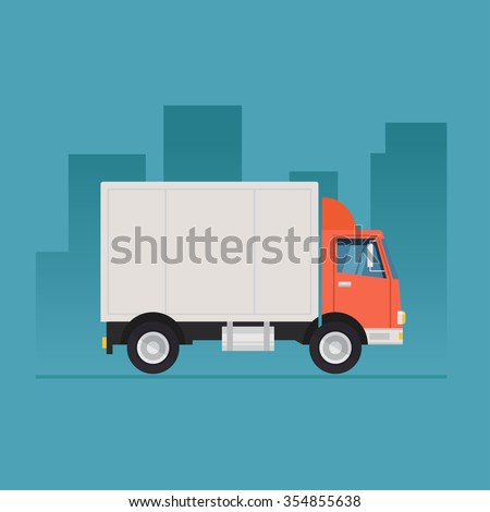 Truck delivery vector illustration isolated on background. Truck car on road in flat style. Trucking and delivery concept design. - stock vector