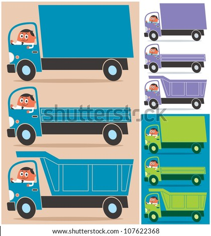 Truck Driver: Cartoon character driving 3 types of trucks. Each truck is in 3 color versions. No transparency and gradients used. - stock vector