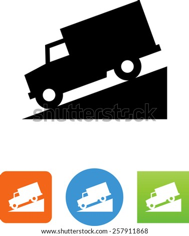 Truck driving down a hill symbol. Vector icons for video, mobile apps, Web sites and print projects.