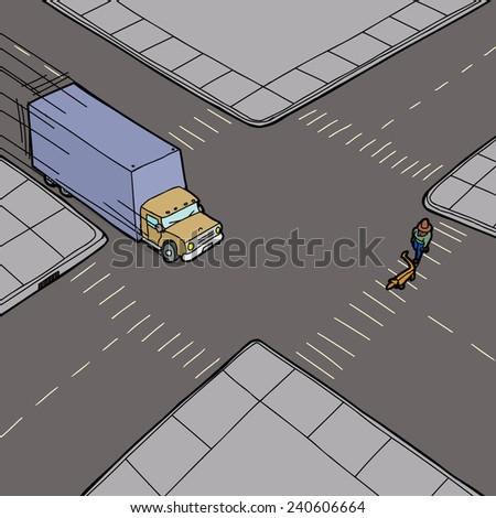 Truck driving fast across intersection toward pedestrian - stock vector