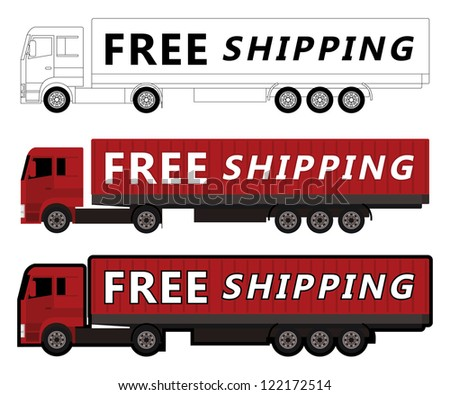 truck free shipping, vector illustration - stock vector