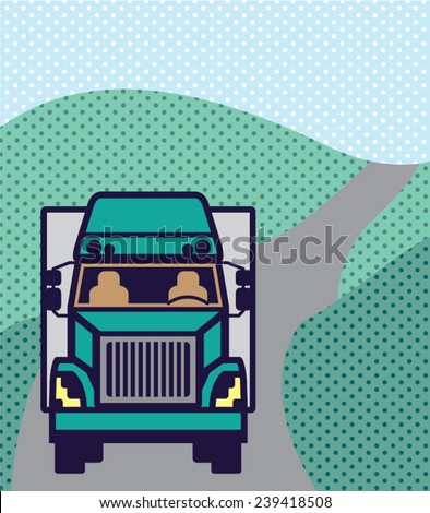 Truck front Color Vector - stock vector
