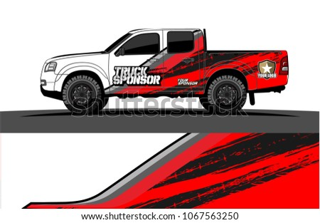 Truck graphics abstract curved lines with grunge background