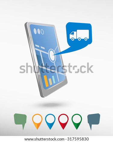 Truck icon and perspective smartphone vector realistic. Set of bright map pointers for printing, website, presentation element and application mock up. - stock vector