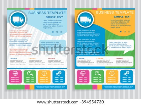 Truck icon on vector Brochure Flyer design Layout template, size A4. Easy to use and edit. - stock vector