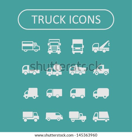 Truck icon set - stock vector