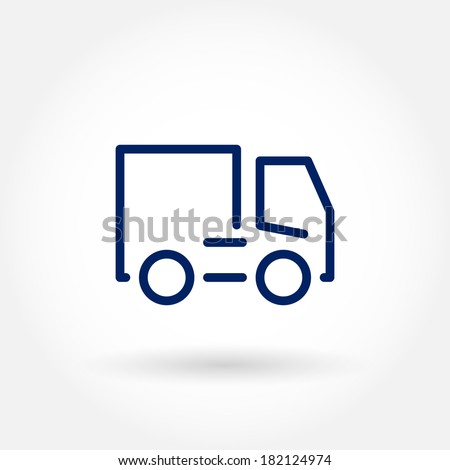 Truck icon. Transport icons. Modern icons for mobile interface. Fine line pixel aligned mobile ui icons with variable line width. Vector illustration.  - stock vector