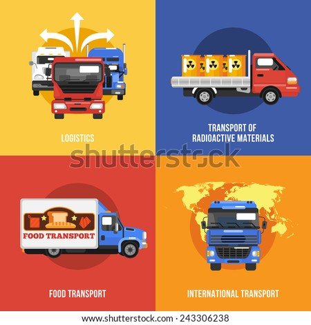 Truck icons flat set with logistics radioactive materials food international transport isolated vector illustration - stock vector