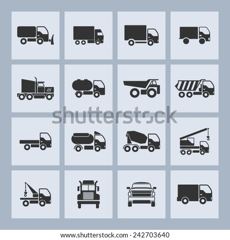 Truck icons for site - stock vector