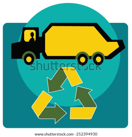 Truck inside recycling symbol - stock vector