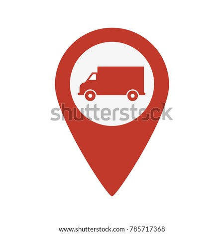 Truck Map Pointer Icon on white background. Vector illustration