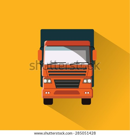 Truck on the road. Flat vector illustration. Front view. - stock vector