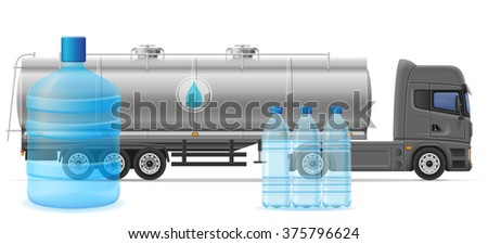 truck semi trailer delivery and transportation of purified drinking water concept vector illustration isolated on white background - stock vector