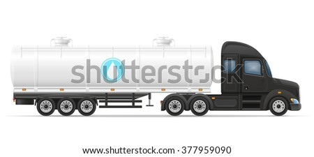 truck semi trailer delivery and transportation of tank for liquid vector illustration isolated on white background - stock vector