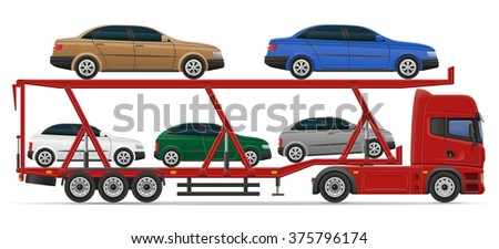 truck semi trailer for transportation of car concept vector illustration isolated on white background - stock vector