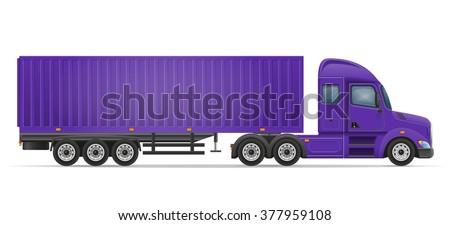 truck semi trailer for transportation of goods vector illustration isolated on white background - stock vector