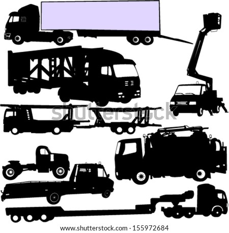 truck silhouettes set - vector - stock vector